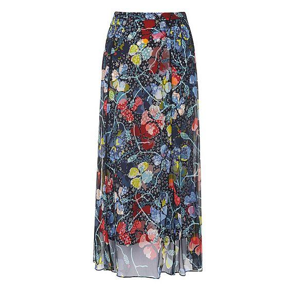 Phia Navy Silk Skirt