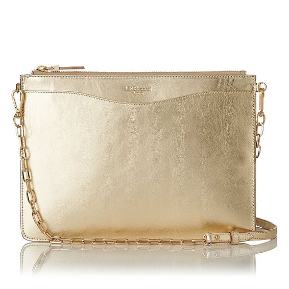 Rachel Gold Textured Leather Cosmetic Bag
