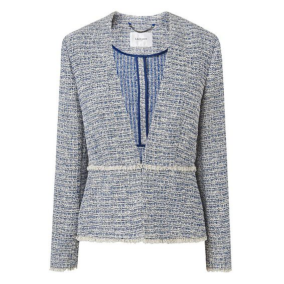 Rafia Blue Tweed Cotton Mix Jacket