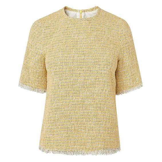 Rafia Yellow Cotton Mix Tweed Top