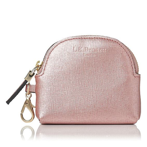 Raven Metallic Pink Saffiano Leather Purses