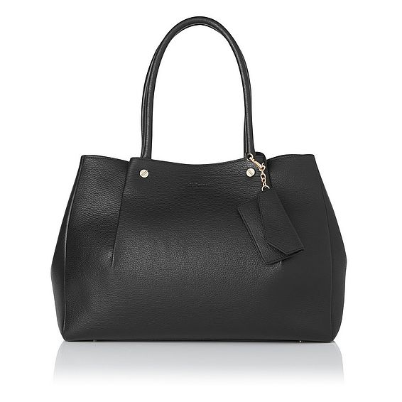 Regan Black Grained Leather Tote