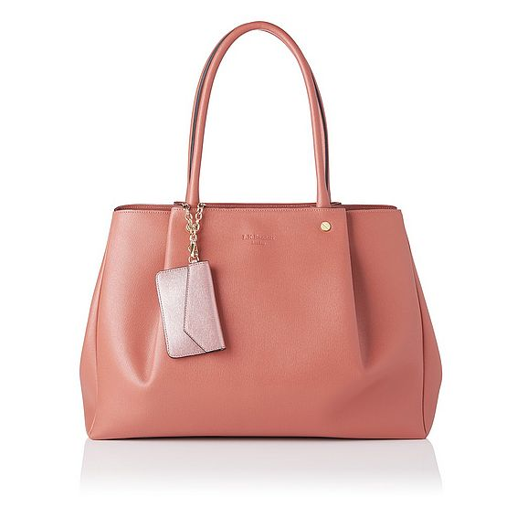Regan Dark Pink Saffiano Leather Tote