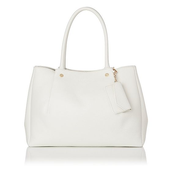 Regan White Grained Leather Tote