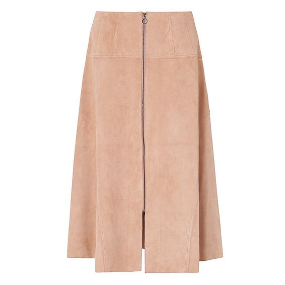 Ria Blush Leather Skirt