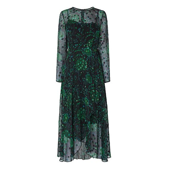 Roe Black Printed Silk Dress