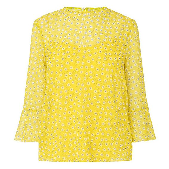 Ros Yellow Silk Woven Top