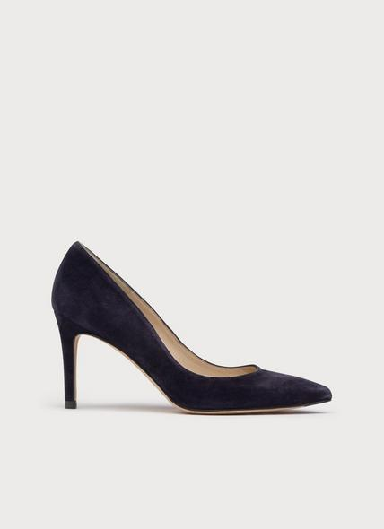 Floret Navy Suede Pointed Toe Courts