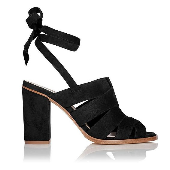 Seline Black Suede Formal Sandals