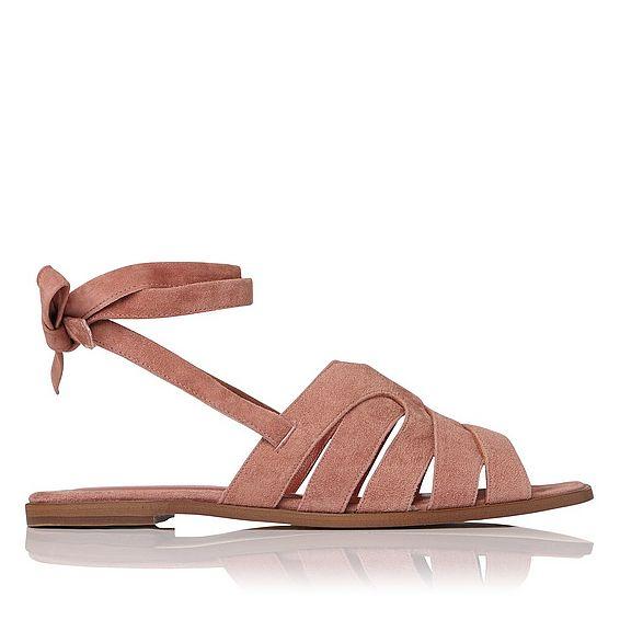 Selma Dark Pink Suede Flat Sandals