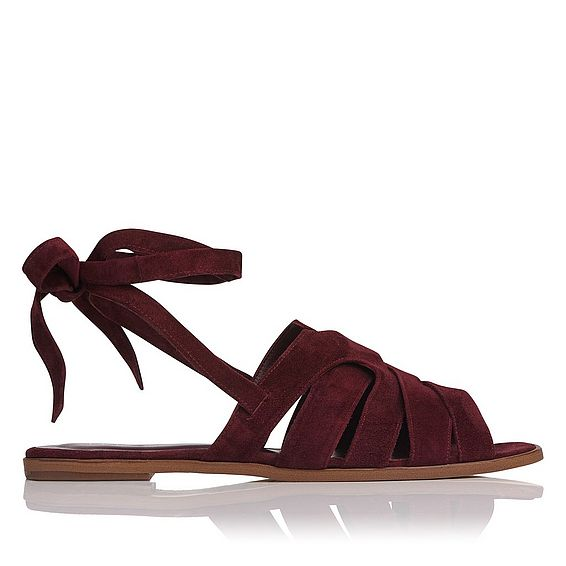 Selma Burgundy Suede Flat Sandals