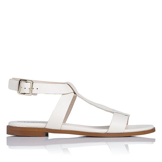 Sofie Cream Leather Flat Sandals