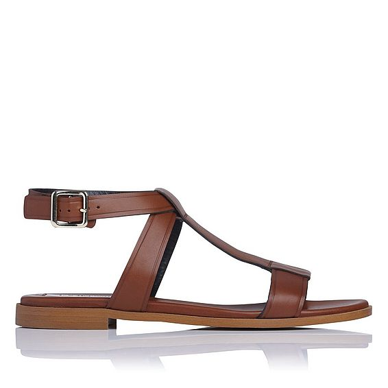 Sofie Tan Leather Flat Sandals