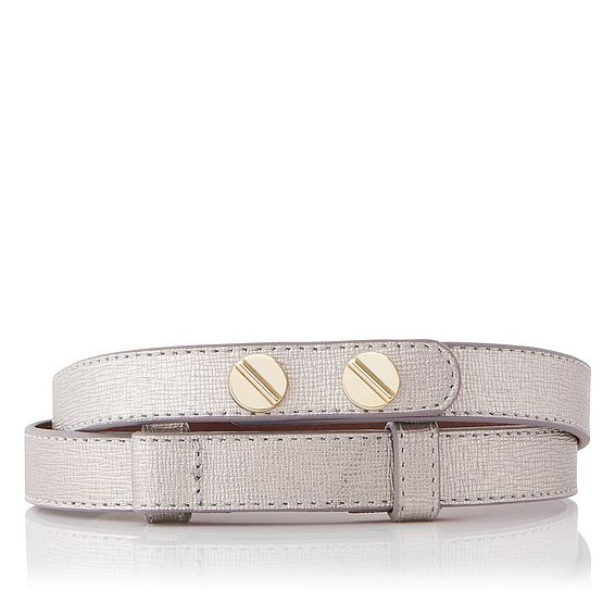 Zahara Metallic Saffiano Leather Belt
