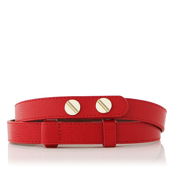 Zahara Red Saffiano Leather Belt