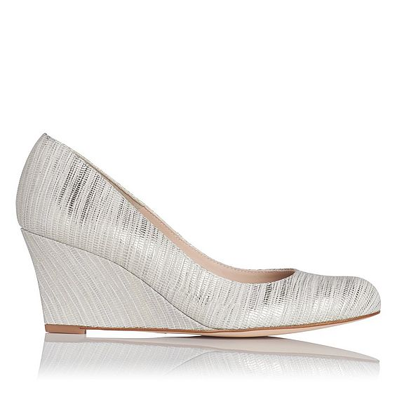 Zahara Metallic Cream Striped Wedge Courts