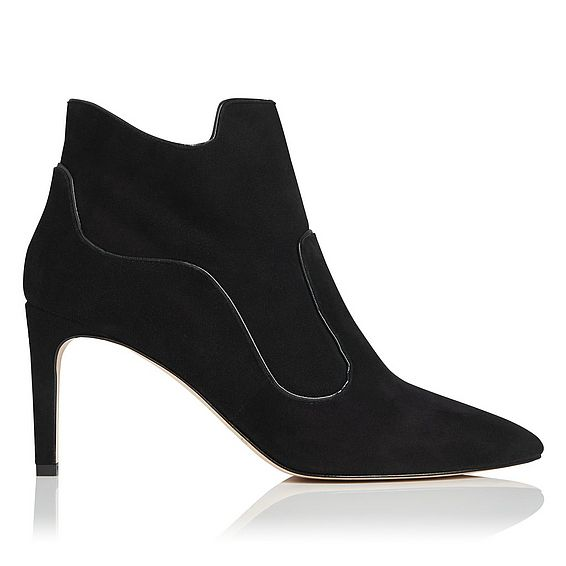 Annesha Black Suede Ankle Boots