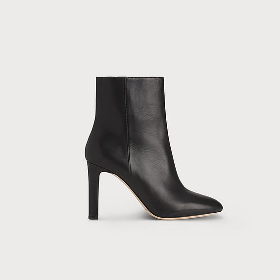 Edelle Black Leather Ankle Boots