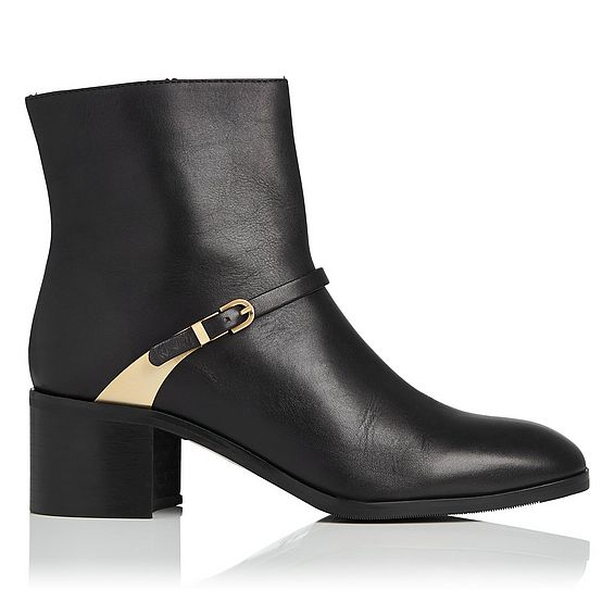 Hollie Black Leather Ankle Boots