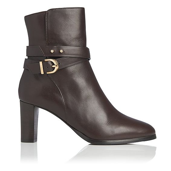 Josie Chocolate Leather Ankle Boots