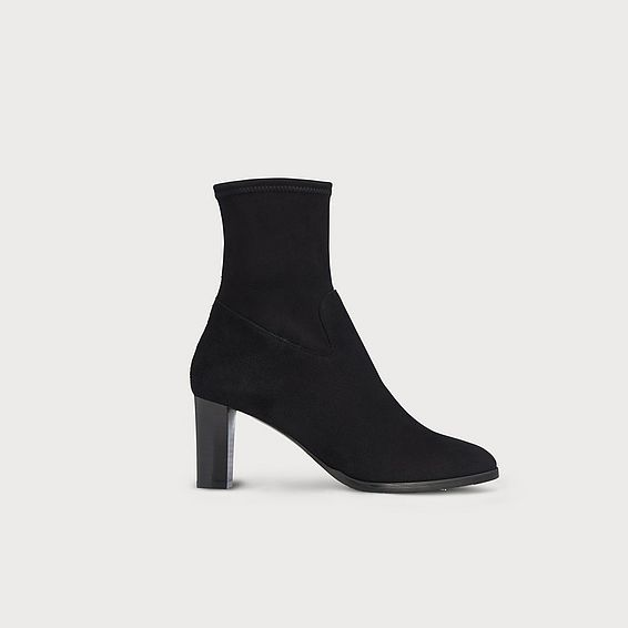 Kayla Black Stretch Suede Ankle Boots