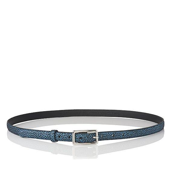 Glenda Blue Metallic Flock Leather Belt