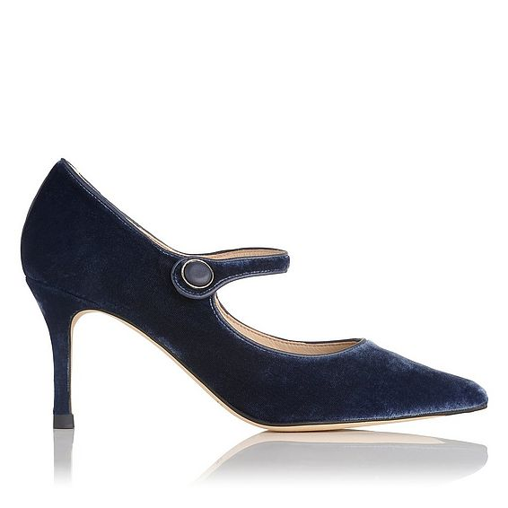 Monica Blue Velvet Court Shoes