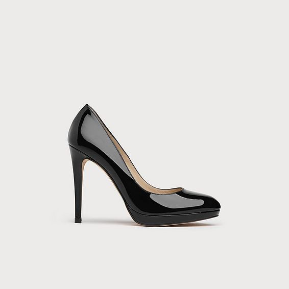 Sledge Black Leather Platform Courts
