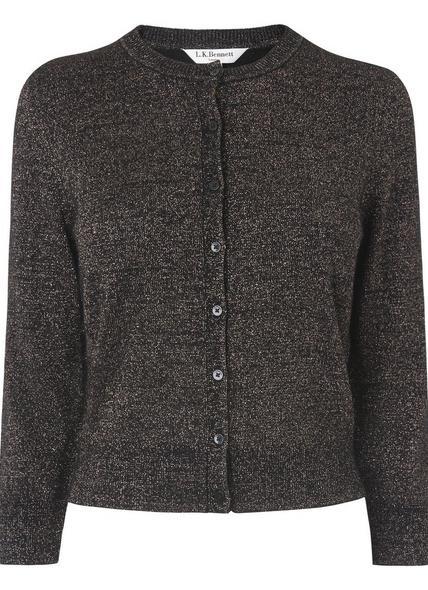 Maddy Black Gold Lurex Wool Cardigan