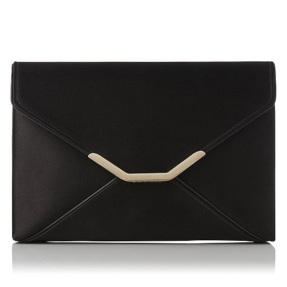 Alena Black Satin Clutch