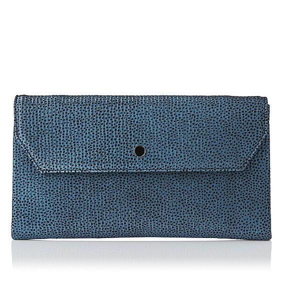 Dora Blue Metallic Flock Leather Clutch