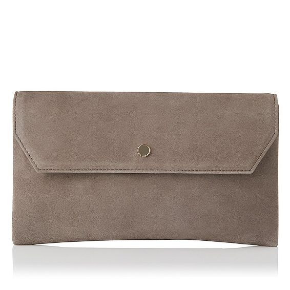 Dora Grey Suede Clutch