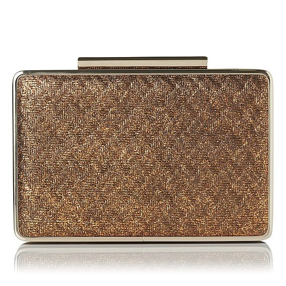 Nina Gold Leather Clutch