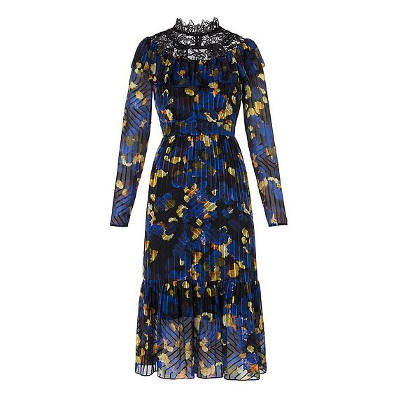 Reed Rose Print Silk Dress