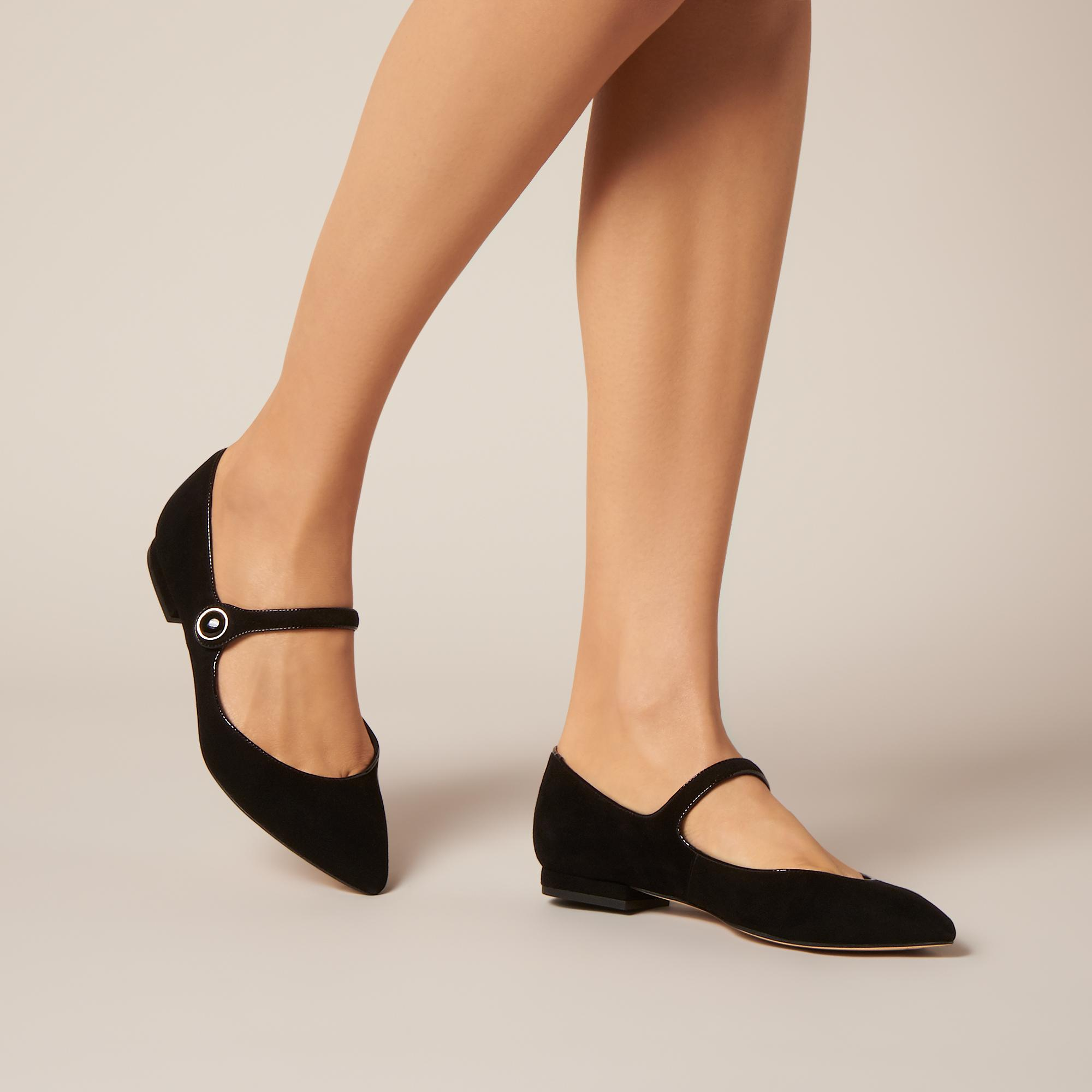 1cac75f50 Mary-Jane Black Suede Flats | Shoes | L.K.Bennett