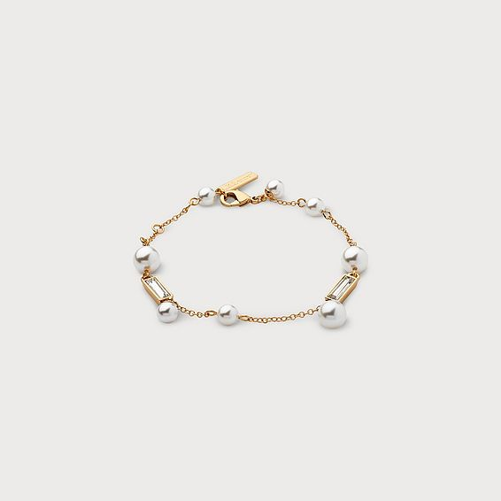 Carrie White Gold Pearl Bracelet