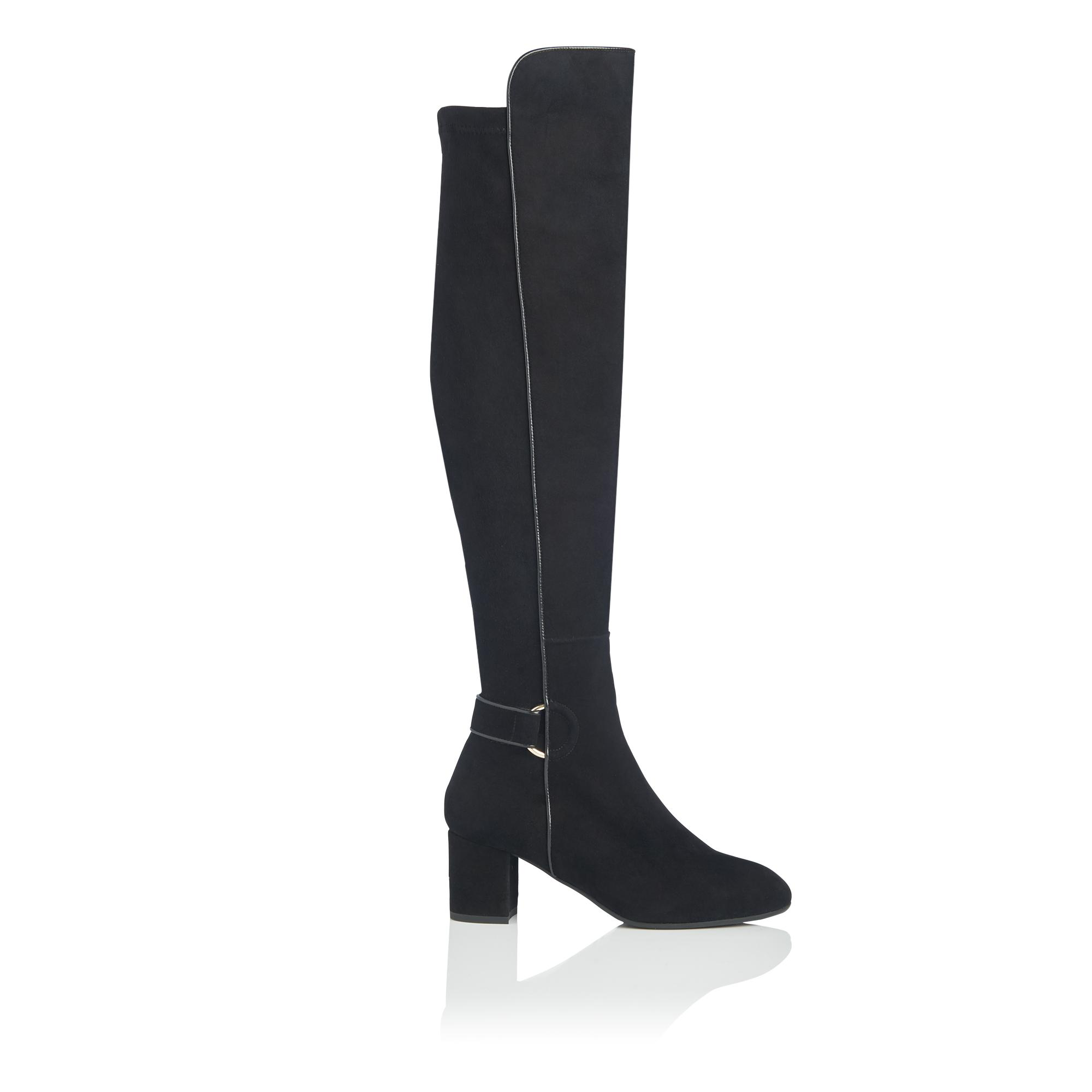 Amba Black Stretch Suede Knee Boots