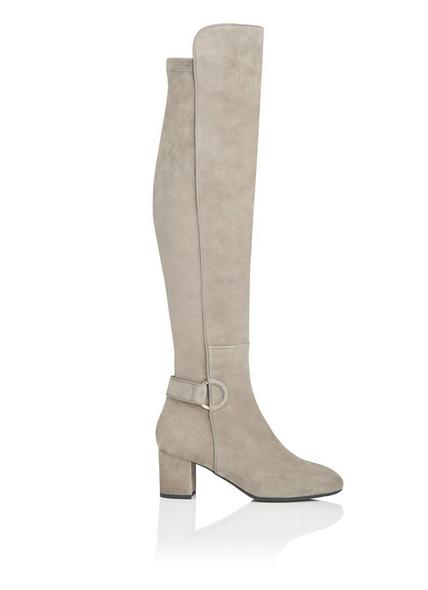 Amba Silver Birch Stretch Suede Knee Boots