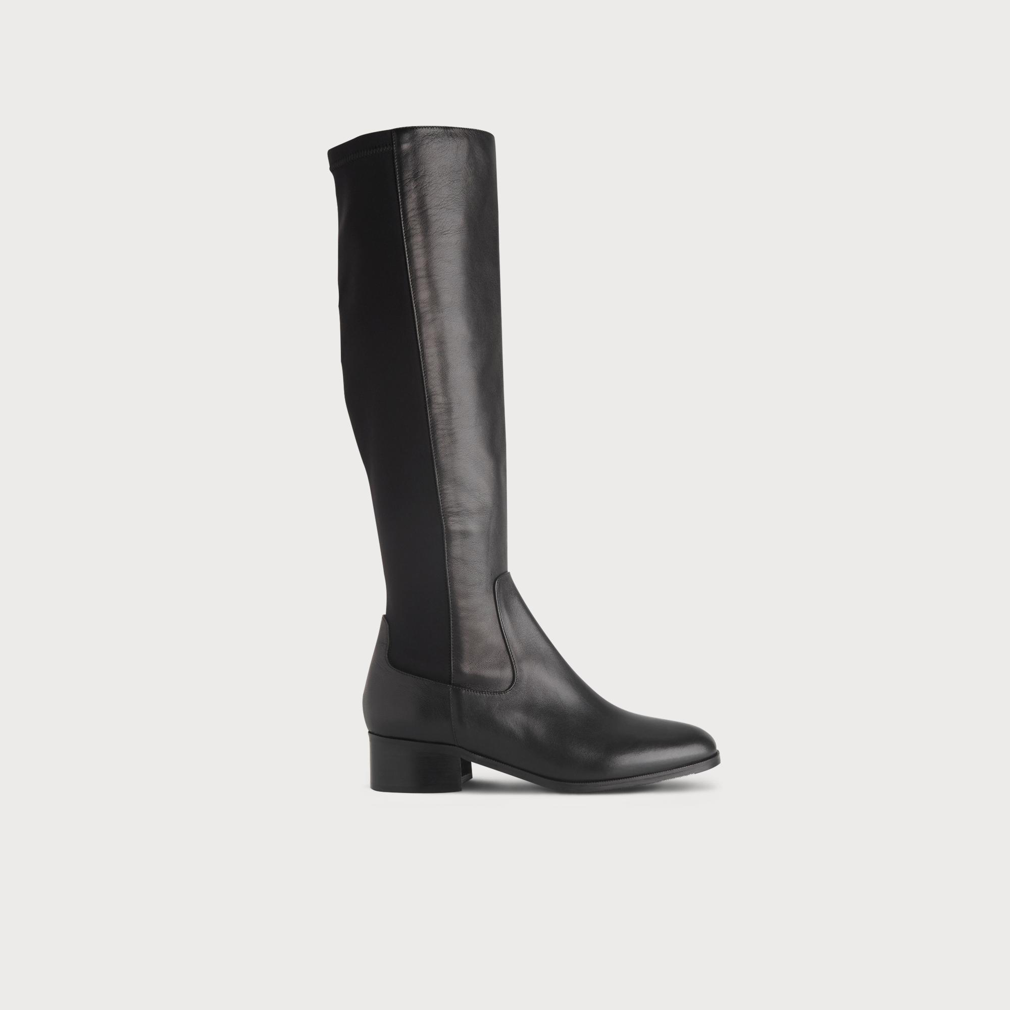 e3ab890497f Bella Black Stretch Leather Knee Boots