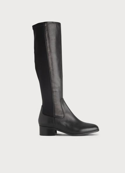 Bella Black Stretch Leather Knee Boots