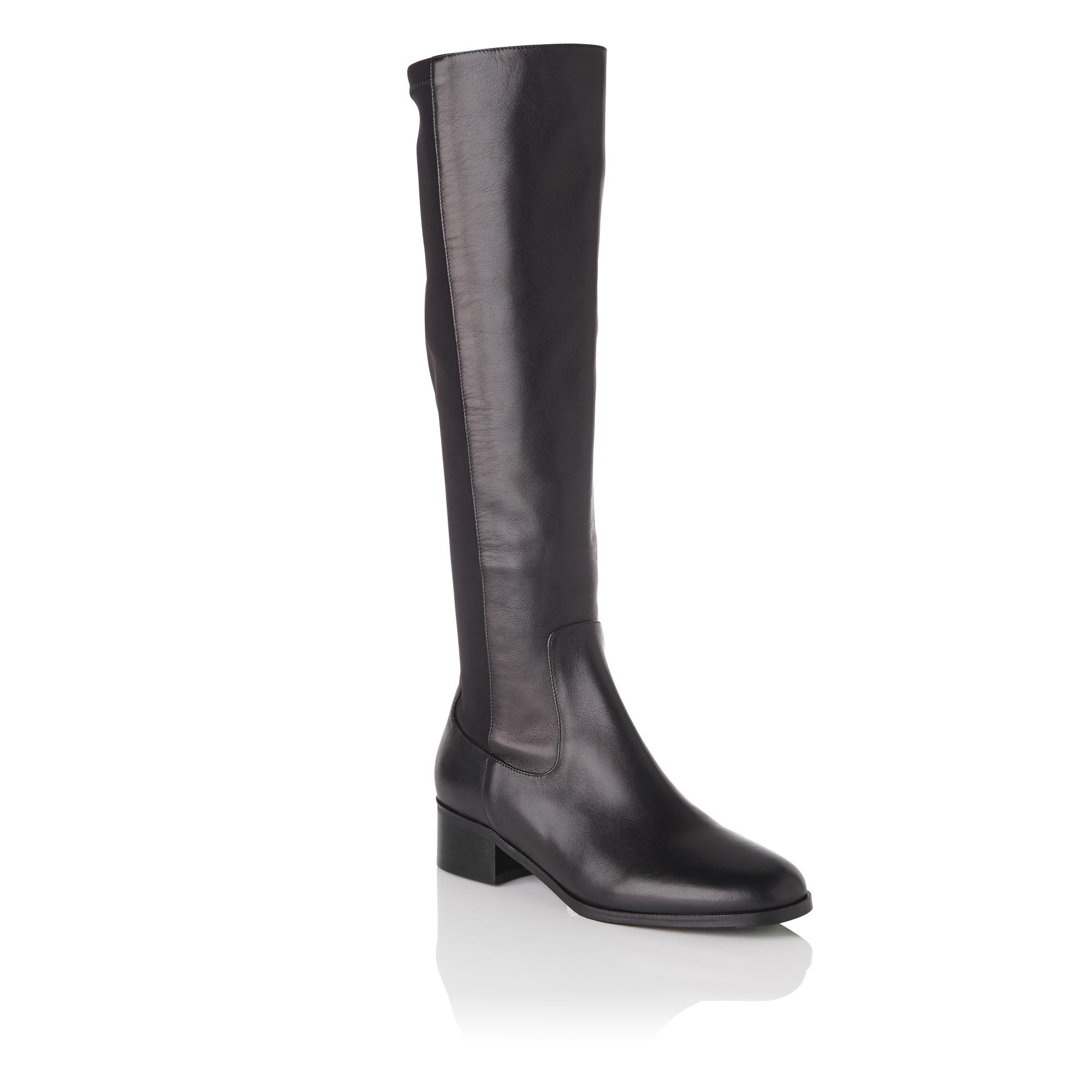 e3ab890497f Bella Black Stretch Leather Knee Boots