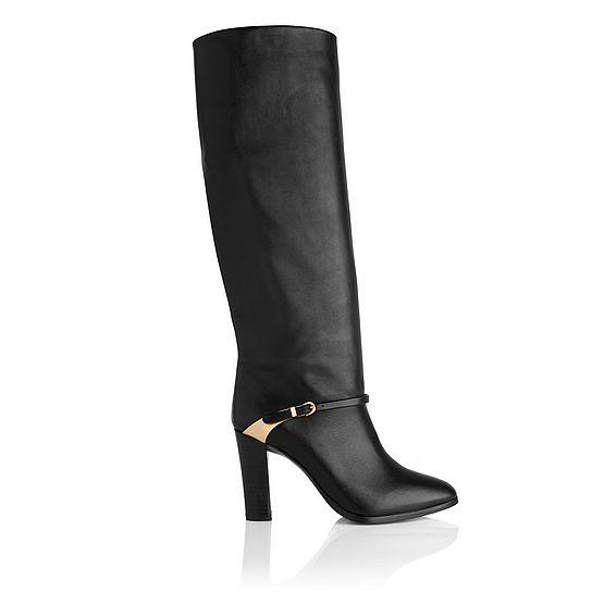 Harlie Black Leather Knee Boots