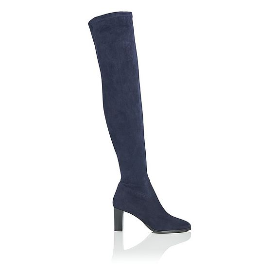 Kaori Navy Stretch Suede Knee Boots