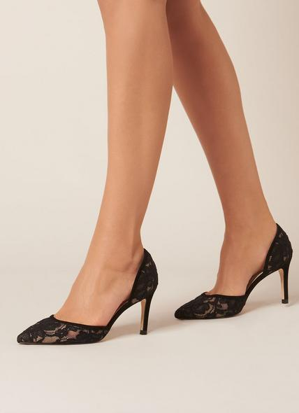 Flossie Black Lace Suede Open Courts