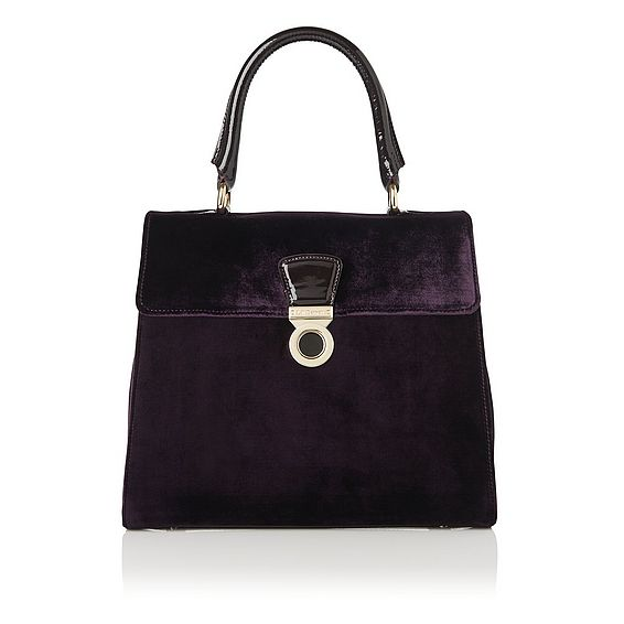 Amy Purple Velvet Patent Shoulder Bag