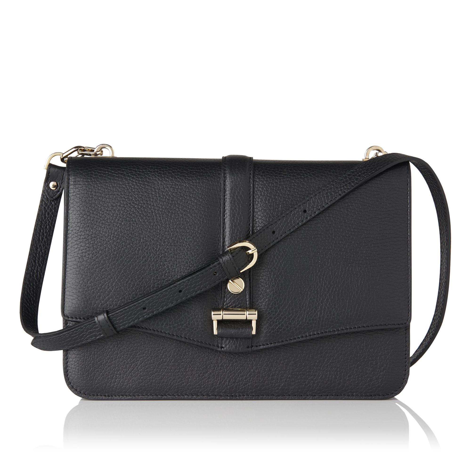 Belle Black Leather Shoulder Bag