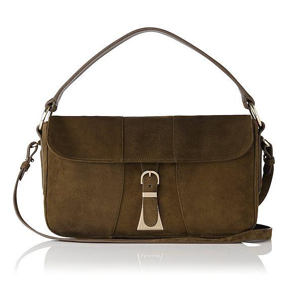 Scarlett Dark Khaki Suede Shoulder Bag