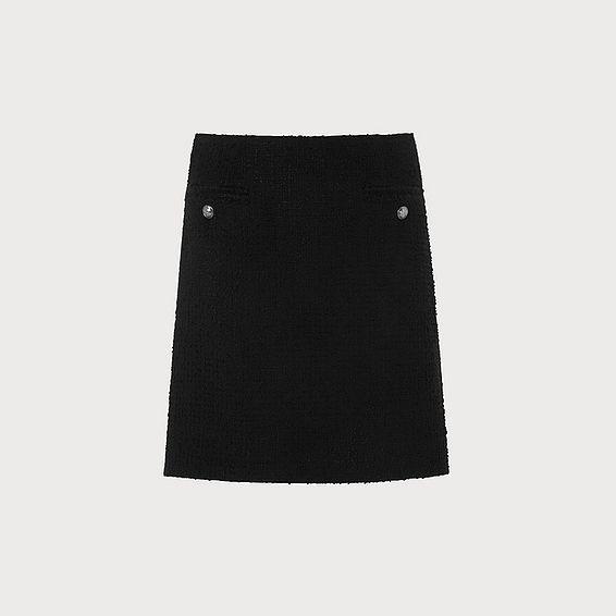 Charl Black Tweed Skirt
