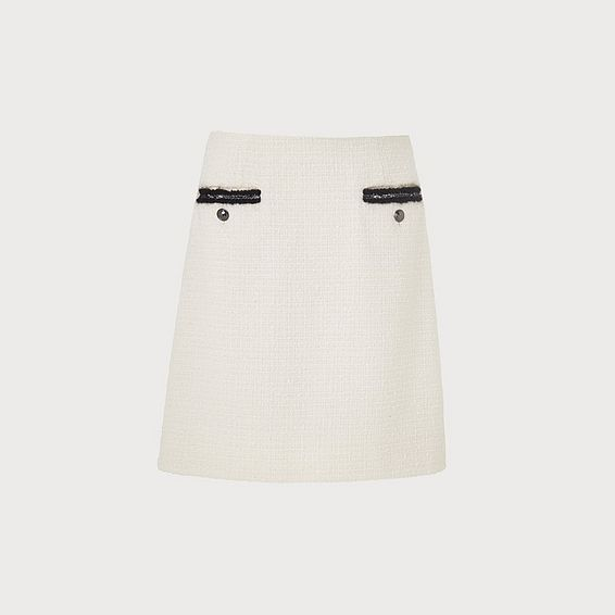 Charl Cream Tweed Skirt