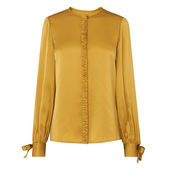 Aalia Yellow Silk Woven Top
